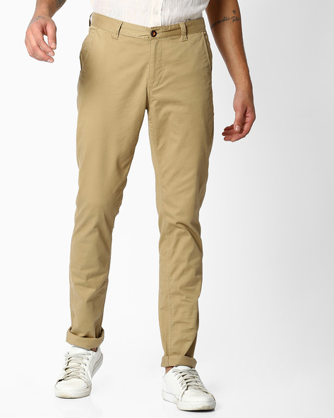 Dobby Slim Fit Travel Chinos By NETPLAY ( Khaki )