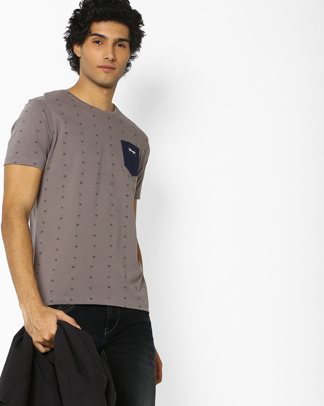 Crew-Neck T-Shirt With Patch Pocket By WRANGLER ( Gray )