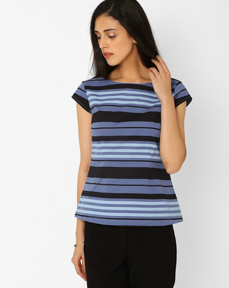 Striped Top With Cap Sleeves By AJIO ( Blue )