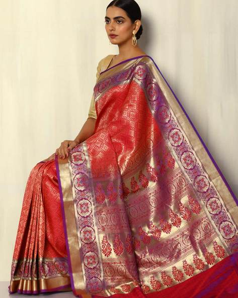 Patola-Style Brocade South Silk Saree By Pretty Woman ( Red )