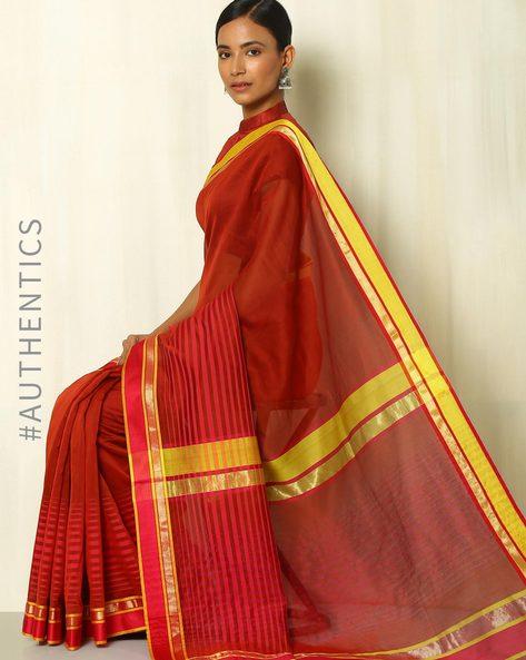 Handloom Maheshwari Silk Cotton Saree With Zari By Indie Picks ( Red ) - 460090743001