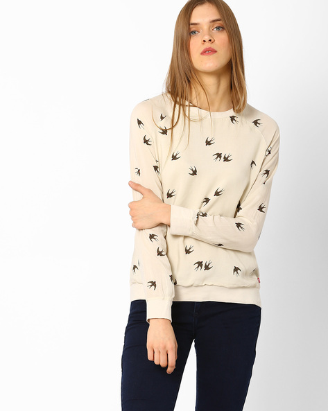 Printed Top With Raglan Sleeves By LEVIS ( White )