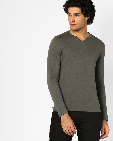 Cotton T-shirt With Notched Neckline By Celio ( Green )