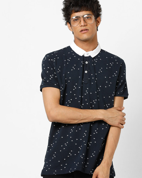 Printed Slim Fit Polo T-shirt By SPYKAR ( Navy )