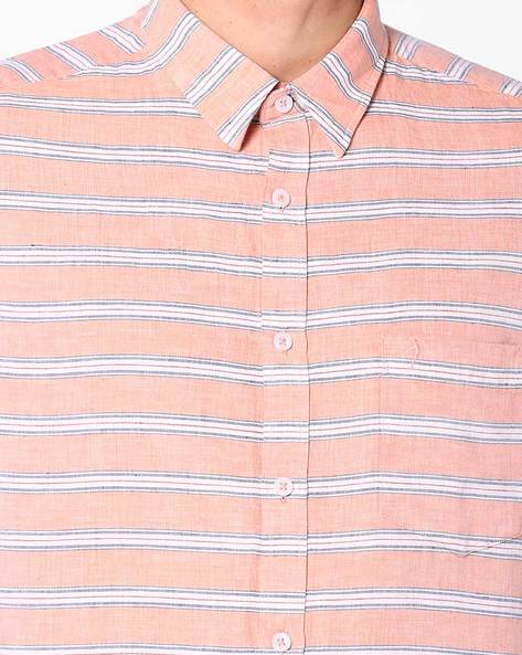 Striped Shirt With Patch Pocket By INDIAN TERRAIN ( Blue )