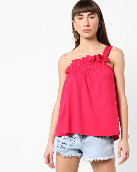 One-Shoulder Ruched Top By AJIO ( Pink )