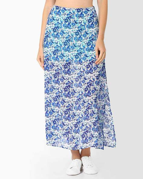 Floral Print Maxi Skirt By AJIO ( Blue )