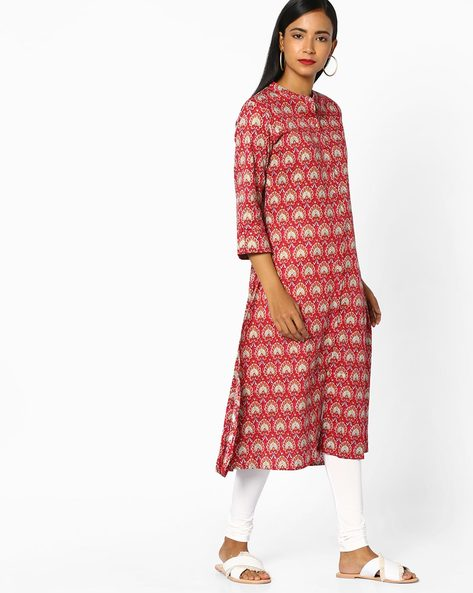 Printed Straight Kurta With Button Placket By AVAASA SET ( Pink )