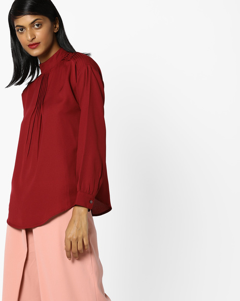 High-Neck Top With Pintucks By AJIO ( Maroon )