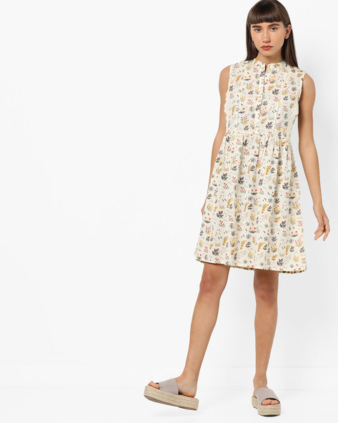 Floral Print A-line Dress With Lace Trims By AJIO ( Offwhite )