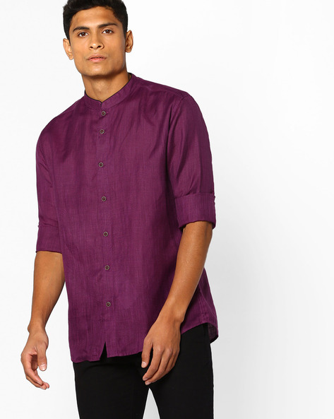 Slim Fit Shirt With Band Collar By British Club ( Purple )