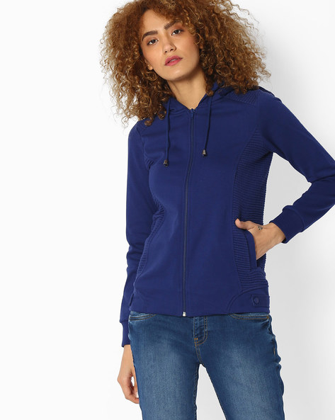 Hooded Sweatshirt With Zip Front By DNMX ( Blue )