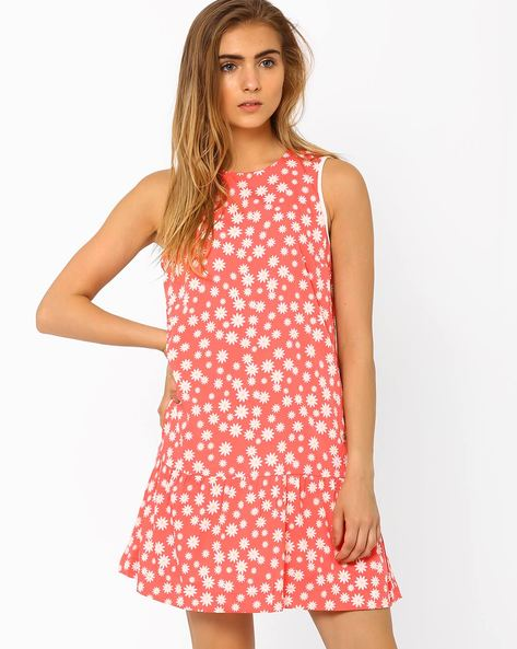 Floral Print Shift Dress By Oxolloxo ( Peach )