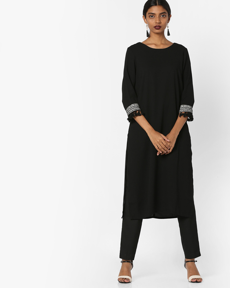 Tunic With Embroidered Sleeve Hems By AJIO ( Black )