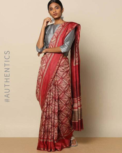 Pure Silk Tussar Floral Print Saree By Rudrakaashe-MSU ( Pink )