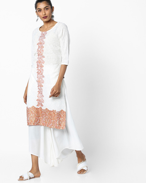 All-Over Print Straight Kurta By Juniper ( Red )