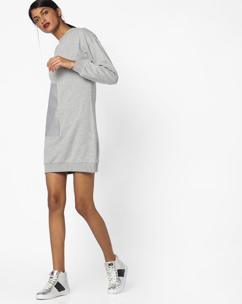 Panelled Shift Dress By AJIO ( Greymelange )