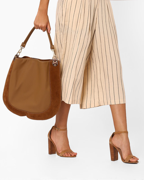 Hobo Bag With Suede Panel By Gusto ( Tan )