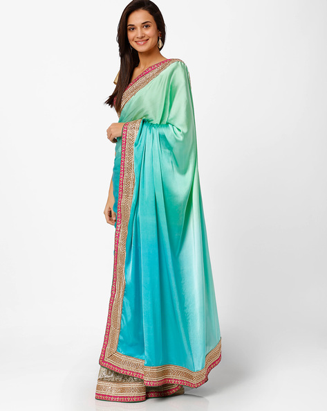 Embellished Half-and-Half Saree By Akoya ( Turquoise )