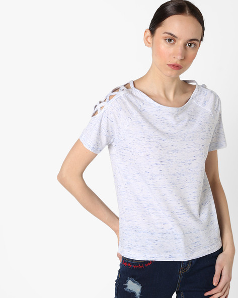 Heathered Top With Criss-Cross Sleeves By AJIO ( Lightblue )