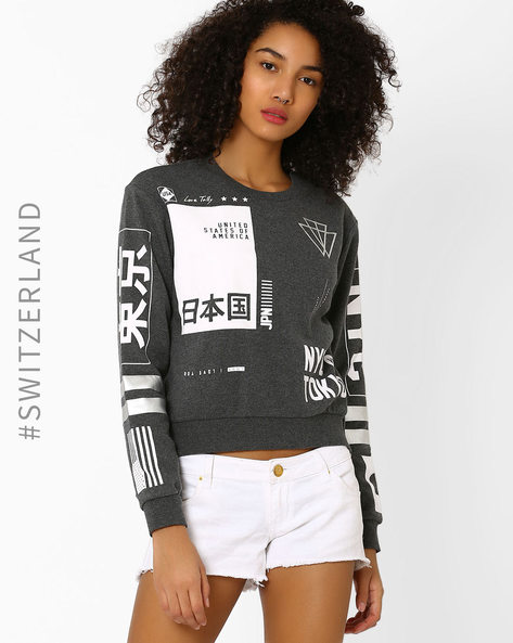 Graphic Print Sweatshirt By TALLY WEiJL ( Grey )