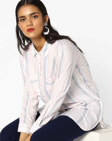 Striped Shirt Tunic With High-Low Hemline By Project Eve WW Casual ( Offwhite )