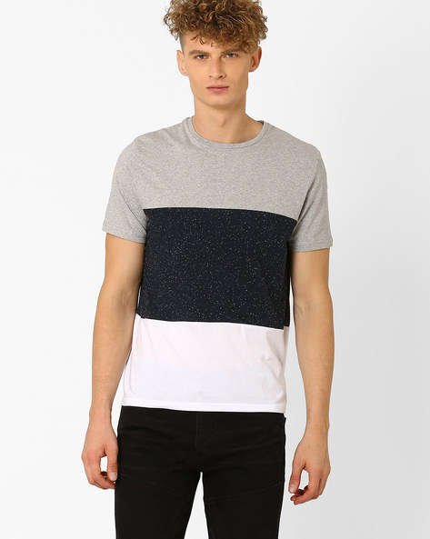 Colourblock Crew-Neck T-shirt By Celio ( Navyblue )
