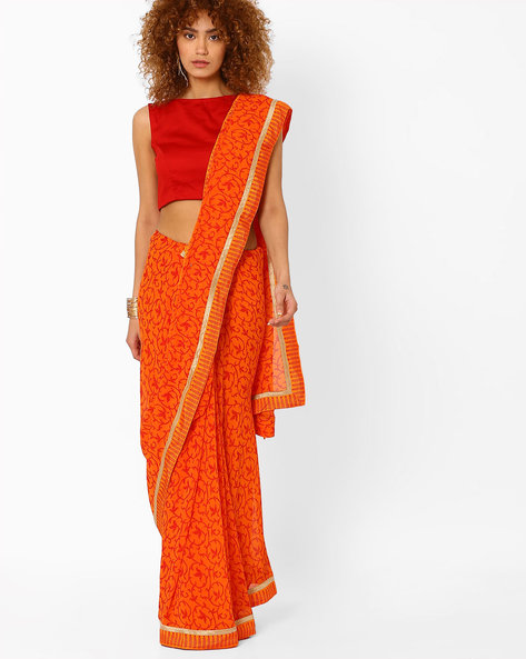Chiffon Printed Saree By Arissa ( Orange )