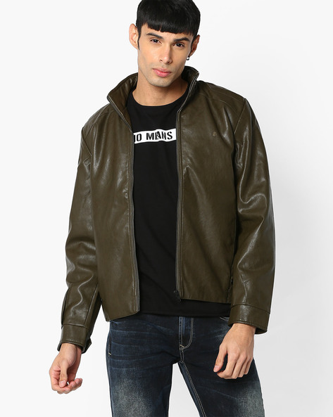 Slim Fit Leatherette Jacket By SPYKAR ( Olive )