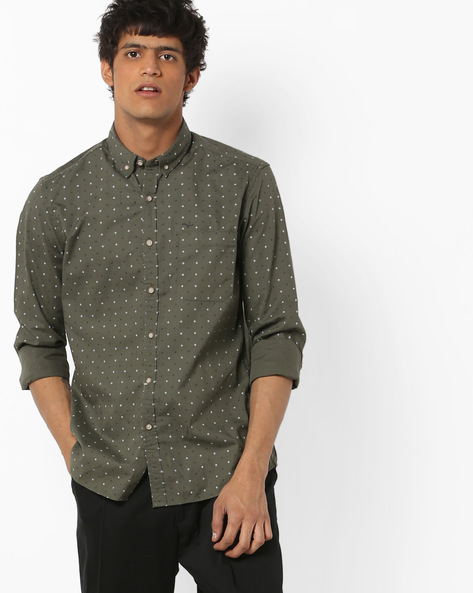 Printed Shirt With Patch Pocket By FLYING MACHINE ( Olive )