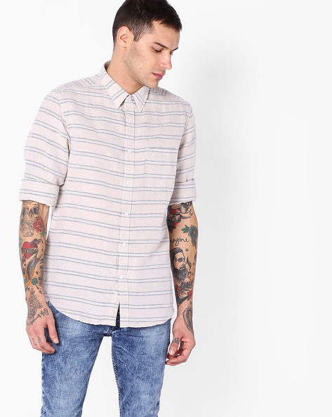 Striped Shirt With Patch Pocket By INDIAN TERRAIN ( Ecru )