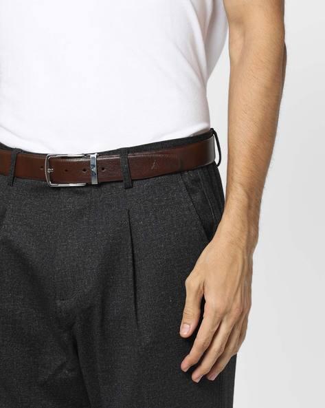 Textured Genuine Leather Belt By ALVARO CASTAGNINO ( Brown )