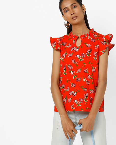 Floral Print Top With Ruffled Cap Sleeves By AJIO ( Red )