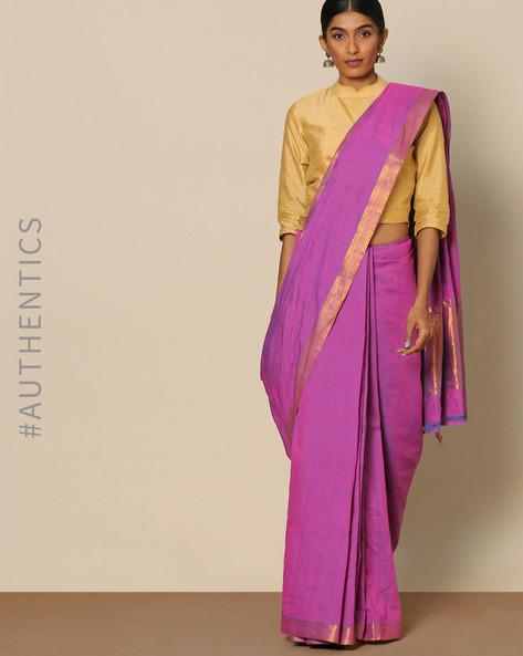 Mangalgiri Cotton Handloom Saree With Nizam Border By Indie Picks ( Purple )