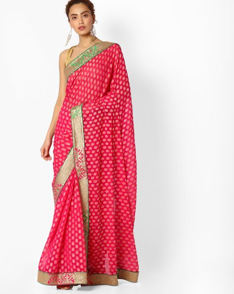 Paisley Print Saree With Embroidery By Majestic Silk ( Pink )