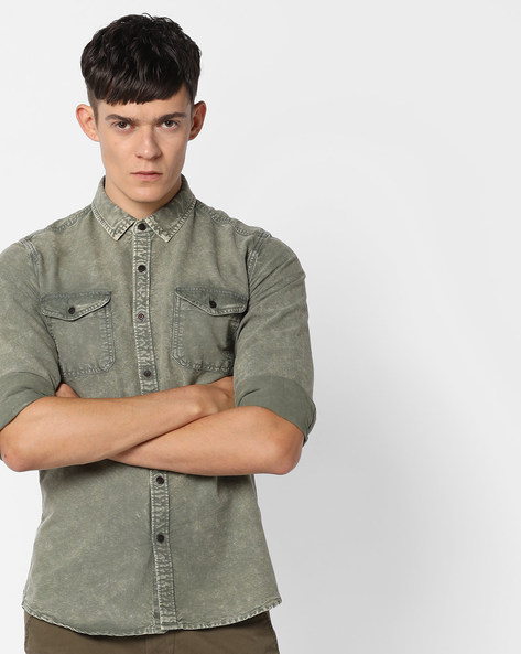 Classic Shirt With Curved Hem By AJIO ( Olive )