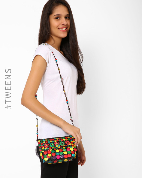 Beaded Sling Bag By AJIO ( Multi )
