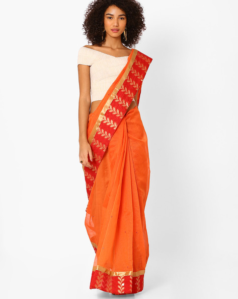 Mirror Work Saree With Contrast Border By Amori ( Orange )
