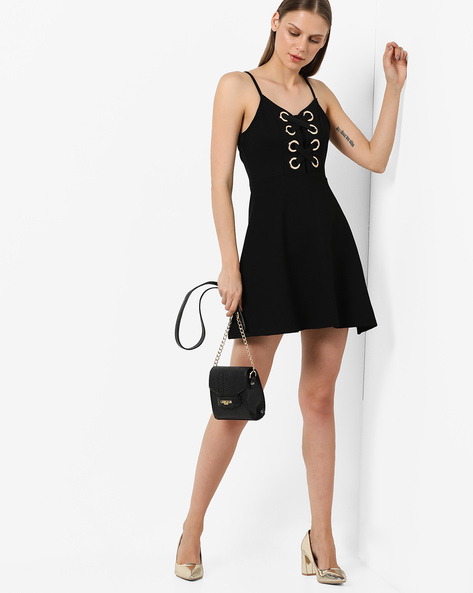 Strappy Skater Dress With Lace-Up Front By AJIO ( Black )