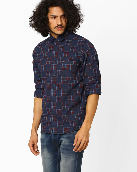 Regular Fit Printed Shirt By Pepe Jeans ( Navy )