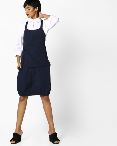 Twill Strappy Dress With Bellow Pocket By AJIO ( Navyblue )