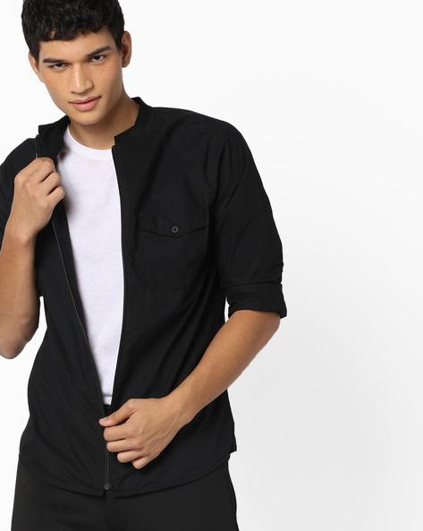 Shacket With Flap Pockets By AJIO ( Black )