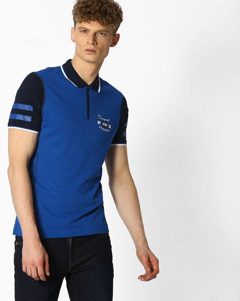 Polo T-shirt With Zip Placket By Teamspirit ( Blue )