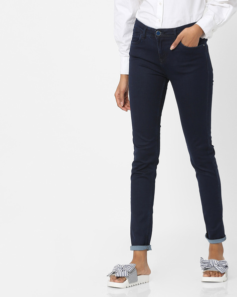Mid-Rise Jeans With 5-Pockets By Tokyo Talkies ( Navyblue )