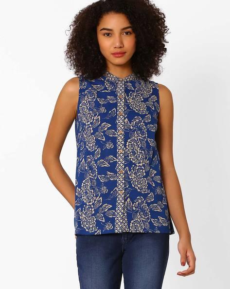 Floral Print Shirt Top By AJIO ( Indigo )