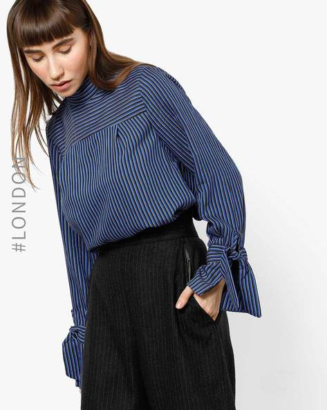 Striped High-Neck Top With Tie-Ups By Closet London ( Multi )