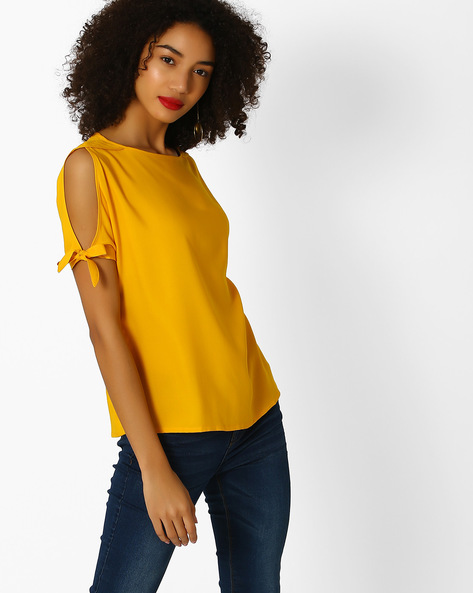 Top With Split Sleeves By And ( Yellow )