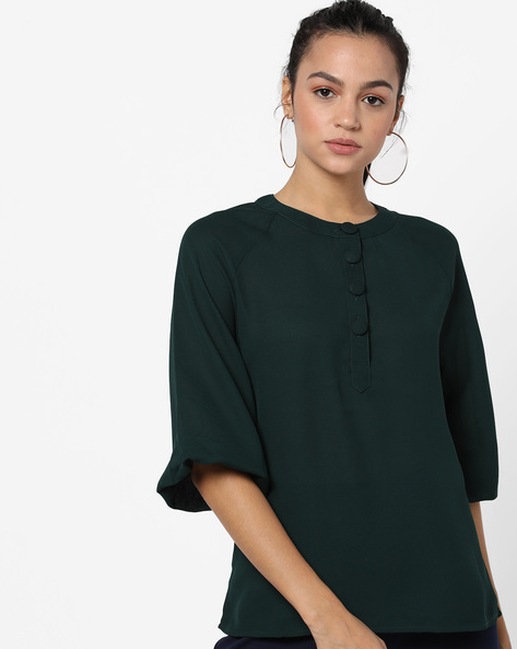 Top With Short Button Placket By Femella ( Green )