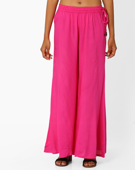 Palazzo Pants With Tassel Tie-Up By Khimsariya ( Pink )