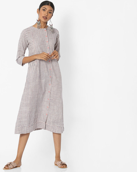 Striped A-line Dress With Pockets By Desi Fusion ( White )